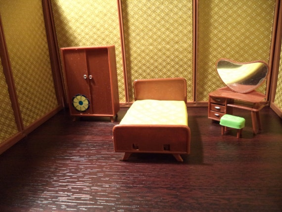 "Blue Box Toys Mid Century Modern Dollhouse Bedroom with Wardrobe 1/2"" scale"