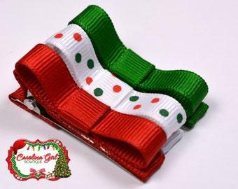 Christmas Set of 3 Hair Clips Basic Tuxedo Clips Alligator Non Slip Barrettes for Babies Toddler Girl Hair Bows