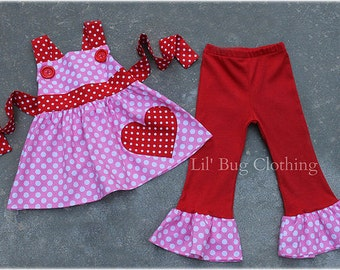 Valentines Day Outift  Pink White Polka Dot Jumper Top And Ruffled Leggings