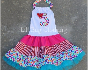 Custom Boutique Clothing  Personalized Birthday Tiered Dots And Stripes Circus Party Dress