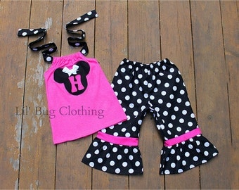 Minnie Mouse Girl Outfit, Hot Pink Black White Polka Dot Minnie Mouse Outfit, Minnie Mouse Capris And Top, Minnie Birthday Outfit
