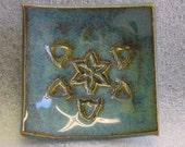 Blue Pottery Ring Tea Bag or Candle Holder with Imprinted Design