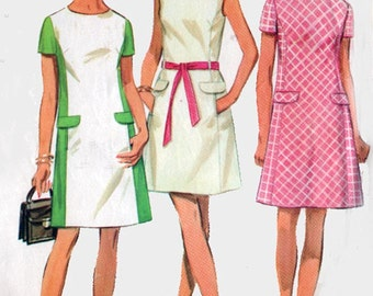 1960s Princess Line Color Block Dress Simplicity 8083 Vintage 60s MOD MAD MEN Sewing Pattern Size 10 Bust 32.5