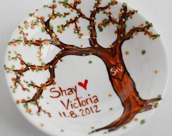 Wedding Tree Ring Dish - Customized Anniversary and Wedding Gift, Personalized Jewelry Bowl, Personalized Jewelry Bowl, Free Shipping