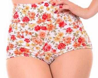 Lush White Floral Highwaist Bikini Bottom