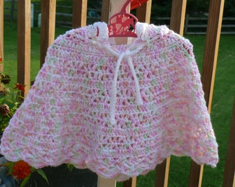 Crochet Hooded Poncho - Girls Size 12 - 18  Months