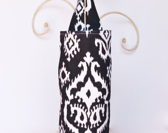 Fabric Plastic Grocery Bag Holder Raji Black and White