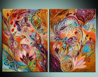 Stream of Life interior design original wall art giclee canvas print two pieces composition Home Living Wall Decor Housewares Wall hangings