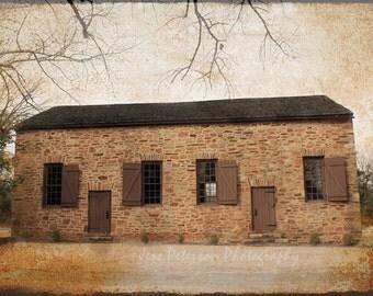 Old Stone Church photos. Clemson SC Photography. Historic Church Photo, Rustic Art, Dark Brown, Caramel brown, Beige Textured Wall Art 8x12