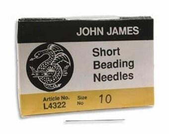 Size 10 John James English Short Beading Needles---Pack of 25