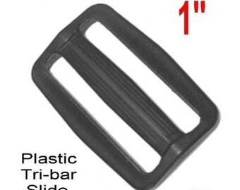 "20 PIECES - 1"" - Strap Adjuster, 1 inch, Heavy Duty Polyacetal Plastic, Tri Bar, 3 BAR Slide - Black or White"