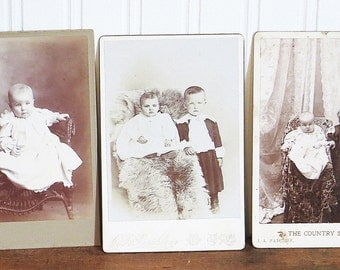 Antique Photos CDV Babies Infants Children Boys Girls  Brothers Sisters Lot Collection of Three