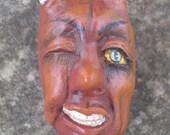 Devil Head Magnet Sculpted Clay Folk Art Primitive Art