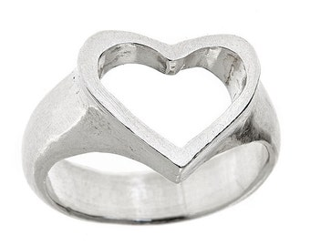 Open Heart Ring Chunky Special Silver by Jennifer Yi Jewelry