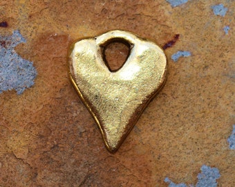 2 Antique Gold Rustic Heart Charms 16x13mm Low Shipping