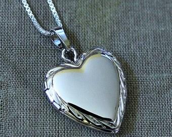 Sterling Silver Heart Locket Necklace - Keepsake Treasure Gift