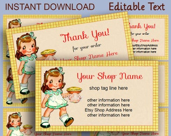 Bakery Shop cards or gift tags #7 Business and Thank You cards cute retro girl baking cooking a pie - editable text PDF INSTANT DOWNLOAD