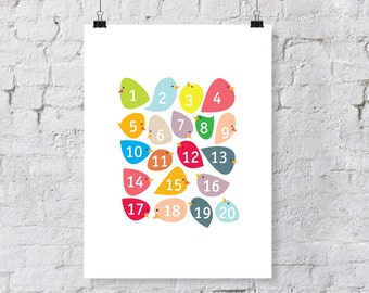 numberbirdies - colorful number birds  - nursery art print