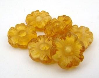 Vintage flower beads, flat round topaz givre glass, German 14mm, 6 pcs