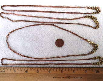 "4 Vintage Brass Necklaces, 18"" Curb Chain, Graduated Links"