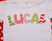 Boy Girl Personalized Christmas Shirt - Names in red green polkadots and chevron - Custom sizes 12-18 month, 2, 4, 6 long or short sleeve