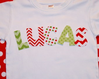 Boy Girl Personalized Christmas Shirt - Names in red green polkadot chevron - Sizes 12-18 month, 2, 4, 6 long or short sleeve