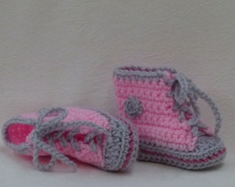 Crocheted Baby Booties choose a size Pink High Top Sneaker Baby Chucks