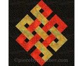 Eternity Knot quilt block, paper piecing quilt patterns, PDF quilt pattern, celtic knot patterns, endless knot, celtic quilt patterns