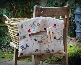 Singing Birds Clothespin Bag / Peg Bag