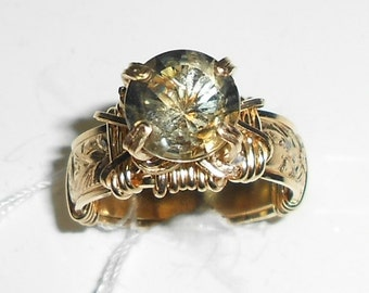 Green Amethyst and Gold Ring