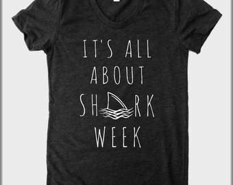 It's all about Shark Week American Apparel tee tshirt shirt Heathered vintage style screenprint ladies scoop top