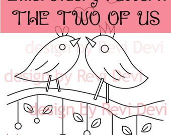 Valentine Embroidery Patterns / hand embroidery pattern design / The two of us Embroidery Pattern PDF - Instant download