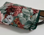 Quilted Sunglasses Case , Floral Makeup Bag , Cosmetic Bag , Pencil Bag , Small Travel Cosmetic Pouch , Travel Organizer , Soft Pouch