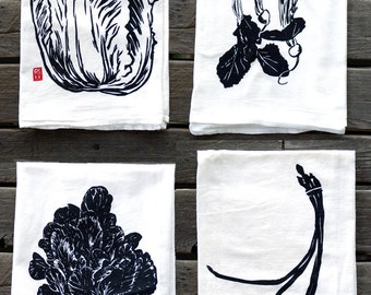 Set of 4 Asian Vegetable Flour Sack Kitchen Towels
