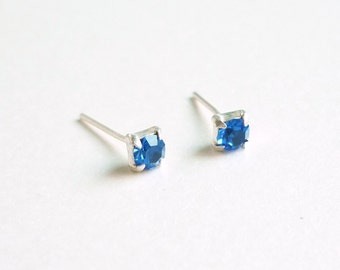 3 mm Small Royal Blue Crystal 925 Sterling Silver Stud Earrings  Bridesmaid Gift Hypoallergenic Earrings Second Hole Earrings