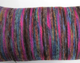Magenta Pillow -- Bright Magenta Purple Teal Brown Blue Stripes Oblong Bolster Throw Pillow Cover -- 14 x 28