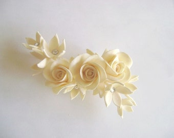 Ivory Rose Stephanotis Hair Flower Wedding Hair fascinator. Birdal/Bridesmaid Hair Clip Made to Order