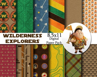 Disney Wilderness Explorers - Up - Inspired 8.5x11 Digital Paper Pack for Digital Scrapbooking, Party Supplies, Invites - INSTANT DOWNLOAD