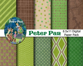 Disney Peter Pan Inspired Digital Paper Backgrounds Pack - 8.5x11 A4 size  - INSTANT DOWNLOAD