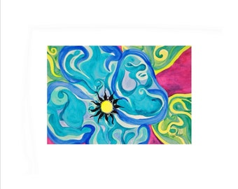 Hippie Flower watercolor note cards, blue and pink note cards