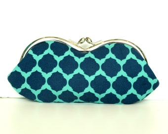 Navy and Mint Moroccan Sunglasses Case - Kisslock Sunglass or Eyeglass Clutch