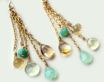 Calypso Earrings with Chrysoprase Aqua Chalcedony Citrine Summer Fashion