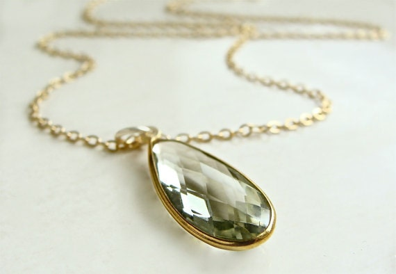 Rialta Necklace with Green Amethyst Bezel Set in Gold with Gold Filled Chain Celery Green