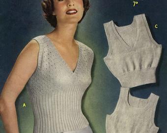 Vintage Ladies Sencers in 3 Sizes and 3 Styles, Knitting Pattern, 1940/1950 (PDF) Pattern, Sirdar 7462