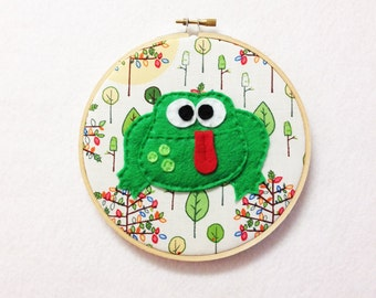 Frog Wall Art, Fabric Wall Art - Dale the Frog, Embroidery Hoop Art, Hoop Art, Nursery Decoration, Gift for Kids, Gift Under 20