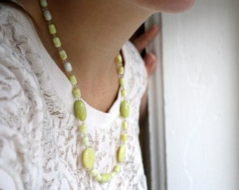 Long Yellow Necklace . Beaded Gemstone Necklace . 22 inch Necklace . Light Yellow Necklace . Natural Stone Necklace - Mirabelle Collection
