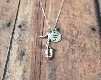 Saxophone initial necklace - sax necklace, music necklace, gift for musician, silver saxophone necklace, music teacher gift, band jewelry