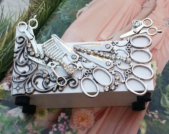 HairStylist Business Card Holder/Scissors And Shears/Gypsy Style