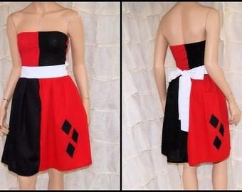 Harley Quinn Strapless Summer Sun Dress Cosplay Costume Adult All Sizes MTCoffinz