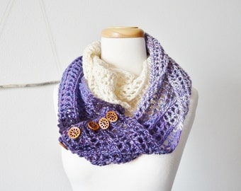 Women's Infinity Scarf / Button Up Cowl - Ombre Purple Lace Loop With Wooden Buttons - Boho, Spring Fashion, Indie Design Wrap Scarf